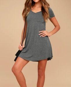 Lulu's shirt dress gray short sleeve size Medium
